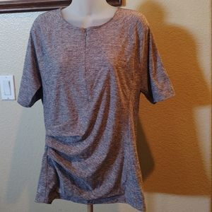 Athleta Pacifica WrapFront Gray Athletic T-Shirt L